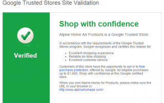 Google Trusted Stores validation page